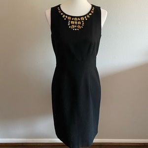 Banana Republic jeweled collar sheath dress, black